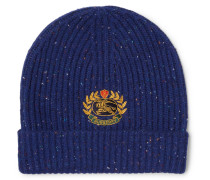 Logo-embroidered Ribbed Wool-blend Beanie - Navy