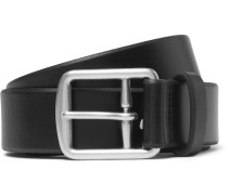 3.5cm Black Leather Belt