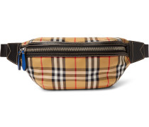 Leather-trimmed Checked Canvas Belt Bag