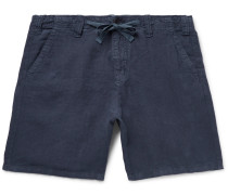 Slim-Fit Linen-Chambray Drawstring Shorts