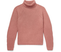 Ribbed Cashmere Rollneck Sweater - Pink
