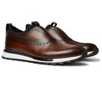 Fast Track Neoprene-Trimmed Venezia Leather Slip-On Sneakers