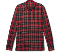 Embellished Checked Cotton-poplin Shirt - Red