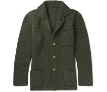 Slim-fit Textured Wool And Cashmere-blend Cardigan - Green