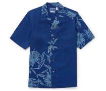 Camp-collar Printed Lyocell Chambray Shirt - Indigo