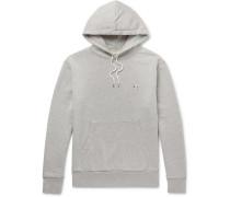 Slim-Fit Logo-Appliquéd Mélange Loopback Cotton-Jersey Hoodie