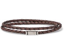 Bruno Woven Leather And Silver-tone Wrap Bracelet - Brown