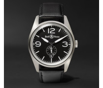 Br 123 41mm Steel And Leather Watch