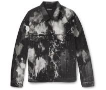 Oversized Bleached Denim Jacket - Black