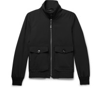 Leather-trimmed Stretch-wool Blouson Jacket