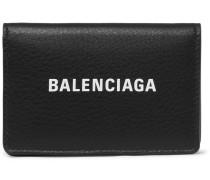 Logo-print Textured-leather Bifold Cardholder - Black