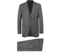 Grey Milano Easy Slim-fit Checked Wool Suit - Gray