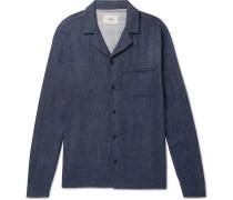 Camp-collar Double-faced Cotton Over Shirt