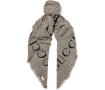 Fringed Logo-print Prince Of Wales Checked Wool Scarf - Gray