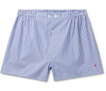 Striped Cotton Boxer Shorts - Blue