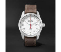 Airco Mach 1 Automatic Chronometer 40mm Stainless Steel And Leather Watch - White