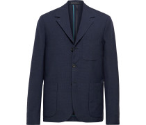 Navy Unstructured Gingham Wool and Cotton-Blend Blazer