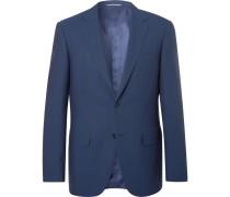 Navy Slim-fit Super 140s Wool Suit Jacket - Blue