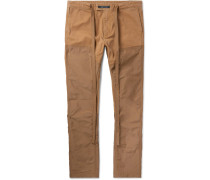 Slim-fit Panelled Cotton-canvas And Nylon Trousers - Beige
