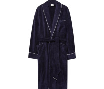 Altman Contrast-tipped Cotton-terry Robe - Midnight blue