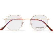 Round-frame Brushed Gold-tone And Tortoiseshell Acetate Optical Glasses - Gold