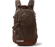 Suede-trimmed Cordura Nylon Backpack - Brown