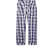 Marcel Gingham Cotton Pyjama Trousers - Navy