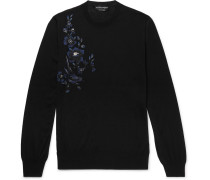 Slim-fit Embroidered Wool Sweater - Black