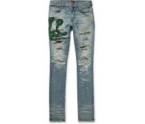 Thrasher Skinny-fit Appliquéd Distressed Stretch-denim Jeans