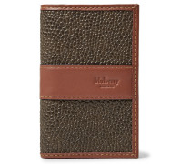 Leather-trimmed Pebble-grain Coated-canvas Bifold Cardholder