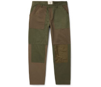 Tapered Cropped Panelled Cotton-Canvas and Twill Trousers