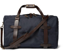 Leather-trimmed Twill Duffle Bag - Navy