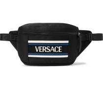 Logo-appliquéd Mesh-trimmed Nylon Belt Bag - Black