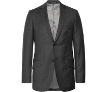 Charcoal Slim-fit Checked Wool Blazer - Charcoal