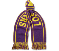 + Nba Los Angeles  Lakers Fringed Intarsia Cashmere Scarf