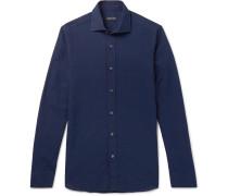 Navy Linen And Cotton-blend Shirt