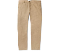 Navy Harvey Cotton-Blend Trousers