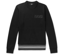 Logo-appliquéd Striped Cotton-blend Jersey Sweatshirt