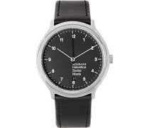 Helvetica No1 Stainless Steel And Leather Watch - Black