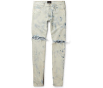 Holy Water Skinny-fit Distressed Selvedge Denim Jeans