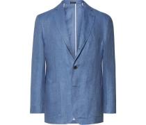 Blue Slim-fit Unstructured Herringbone Linen Blazer
