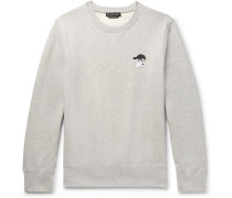 Embroidered Mélange Fleece-back Cotton-blend Jersey Sweatshirt