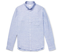 Button-down Collar Slub Linen Shirt