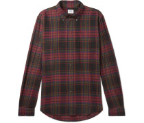 Button-down Collar Checked Cotton-flannel Shirt - Red