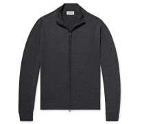 Claygate Merino Wool Zip-up Cardigan - Charcoal
