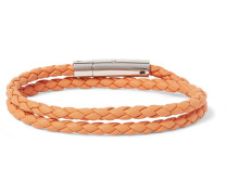 Woven Leather And Silver-tone Wrap Bracelet - Orange