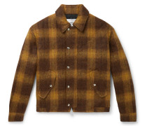 Checked Textured Woven Blouson Jacket