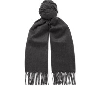 Fringed Cashmere Scarf - Charcoal