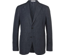 Navy Unstructured Prince Of Wales Checked Linen Blazer