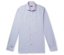 Slim-fit Cutaway-collar Striped Cotton Shirt - Blue